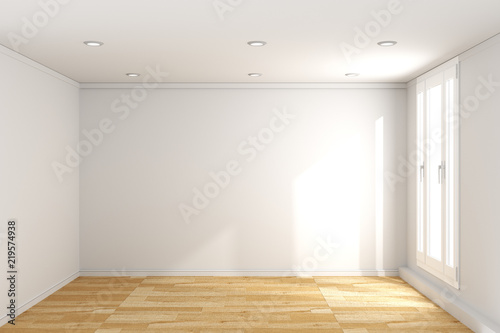 . empty room interior with wooden floor on white wall background  3D