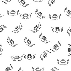 Angel face icon in pattern style. One of Angel and Demons collection icon can be used for UI, UX on white background