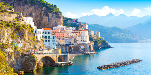 Printed roller blinds Mediterranean Europe Morning view of Amalfi cityscape on coast line of mediterranean sea, Italy