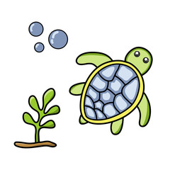Cute turtle, sea weed and bubbles. Hand drawn illustration vector.