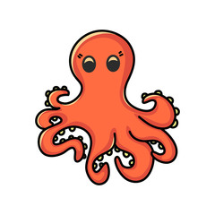 Cute octopus cartoon. Colorful hand drawn illustration vector.