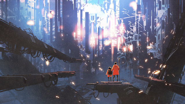 father and his daughter looking at the abstract city with glowing particles flying around them, digital art style, illustration painting