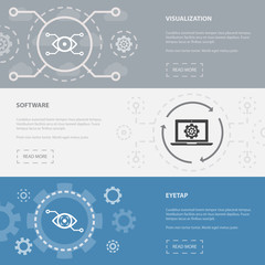 Augmented reality 3 horizontal webpage banners template with Visualization, Software, Eyetap concept icons. Flat modern isolated icon illustration.