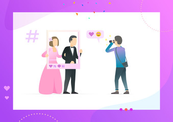 Happy couple making photos to publish in social network, photographer takes pictures of weddinglovers think about future likes vector on tablet screen. Conceptual Web template.
