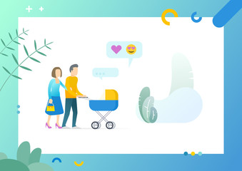 Happy couple mother and father carrying newborn child in pram on screen of tablet, likes and happy emoji symbols on picture vector young family isolated. Conceptual Web template.