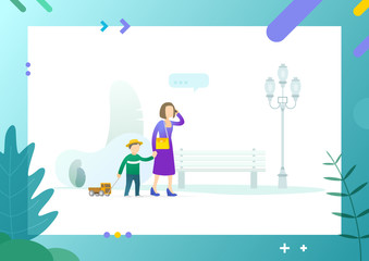 Family calmly walking in park together, mother holding hand of son pulling truck toy, female and little kid passing bench, lantern vector illustration. Conceptual Web template.