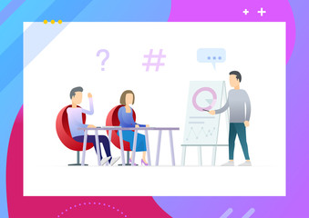 Teacher giving lecture or presentation to employees sitting at board room desk. People at the conference hall. Teamwork workplace. Conceptual Modern and Trendy colorful vector illustration.