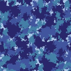 Blue navy seamless pattern. Vector seamless pattern camouflage design. Classic water sea marine vector camo. Camouflage fabric pattern.