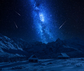 Fototapete - Falling stars and Tatras Mountains in winter at night
