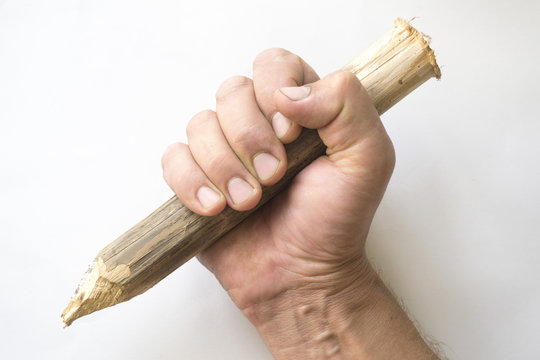 Wooden stake in a hand on a white background.