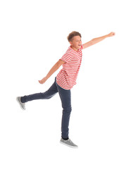 Teenage boy in casual clothes on white background