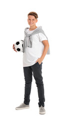 Teenage boy with soccer ball on white background