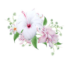 Bright bouquet with flowers.   Hibiscus. Rose. Watercolor illustration.
