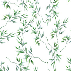 Bright seamless pattern with leaves. Watercolor illustration.