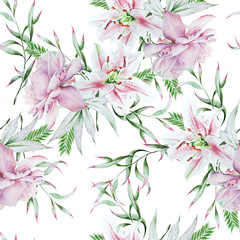 Bright seamless pattern with flowers. Rose. Lily. Watercolor illustration.