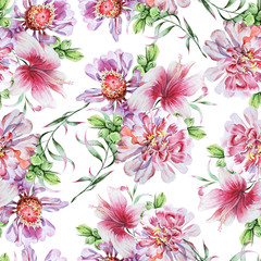 Bright seamless pattern with flowers. Peony. Hibiscus. Watercolor illustration.