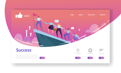 Website Development Landing Page Template. Mobile Application Layout with Flat Businessman Leader on the Top with Flag. Easy to Edit and Customize. Vector illustration