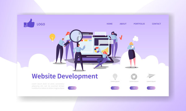 Website Development Landing Page Template. Mobile Application Layout with Flat People Characters and Laptop. Easy to Edit and Customize. Vector illustration
