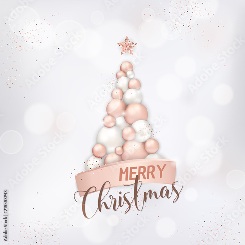 elegant merry christmas card with rose gold christmas tree of balls for invitation or greetings or