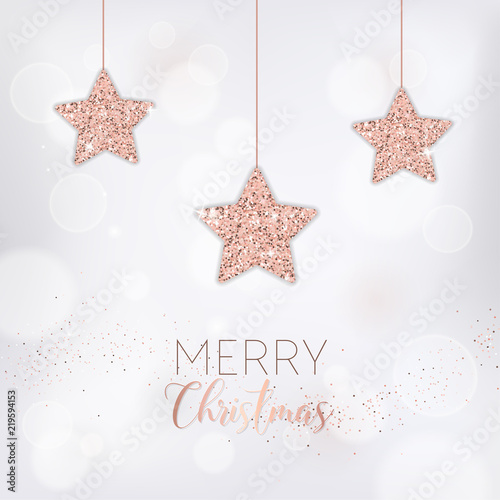 elegant merry christmas card with rose gold glitter stars for invitation or greetings or flyer and