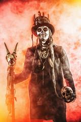 skeleton in red smoke