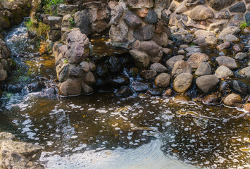 A small cascade of water on the Bastion Hill in Riga. Latvia.