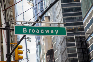NEW YORK - AUGUST 17:Broadway avenue street sign and office buildings in New York City