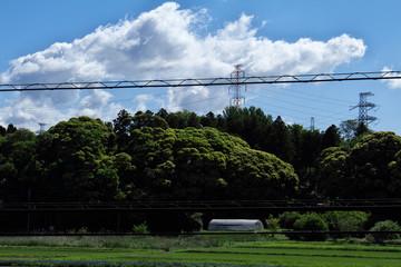 鉄塔と初夏の空