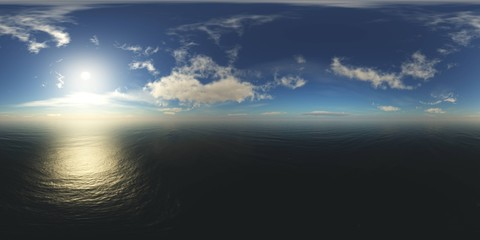 panorama of sea sunset. Environment map. HDRI . equidistant projection. Spherical panorama. landscape. 3d rendering