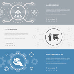 management 3 horizontal webpage banners template with organization, presentation, human resources concept icons. Flat modern isolated icon illustration.