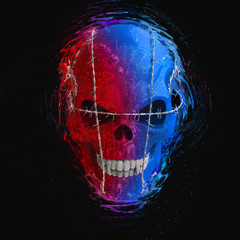 Red and blue evil vampire skull bound with barb wire