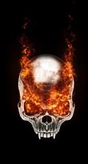 Evil vampire skull - eyes on fire