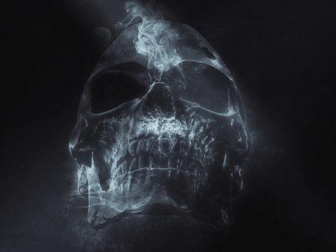 Dark skull made out of smoke