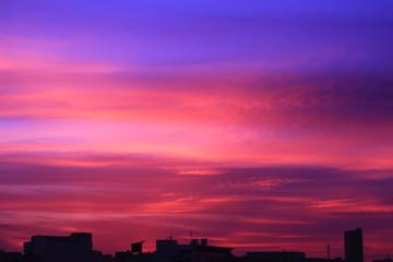 Photo sur Plexiglas Rose banbon 晩夏~早秋の夕景 街並み