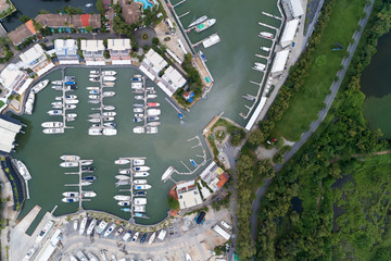 High angle view by drone of the Yacht,motorboat and sailboat in marina
