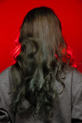 Fashion portrait of Asian Gray curl hair woman with strong color red lips
