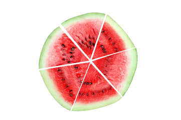 Watermelon lobules are lined in the form of a circle. White isolate.