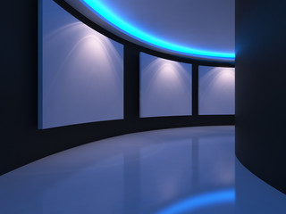 Empty room with white canvas on a curve wall blue light in the gallery