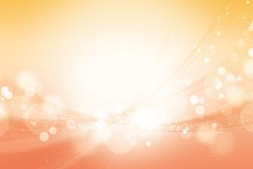 丸いボケと曲線(オレンジ色の背景)