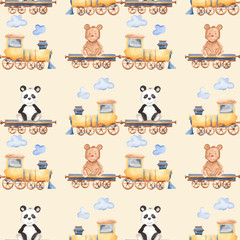 Watercolor pattern with cartoon bears on the train. Illustration with panda and a bear for a children's birthday, cards, invitations, wallpapers, scrap paper.