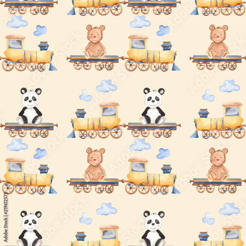 Watercolor Pattern With Cartoon Bears On The Train Illustration Panda And A Bear For