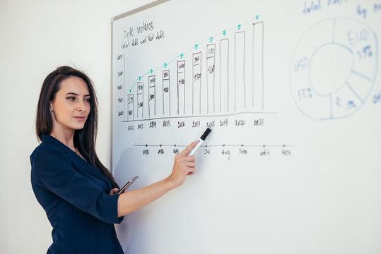 Business woman showing presentation on magnetic desk