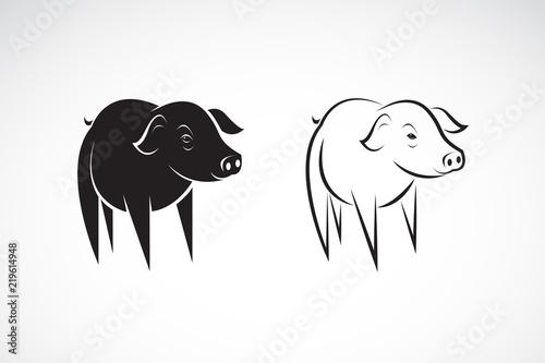 Vector Line Art Animals : Vector of little pig design on a white background farm animals