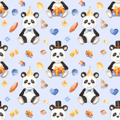 Watercolor pattern with panda and toys. Watercolor illustration with a cute animal for a children's birthday, invitations, postcards, baby shower card.