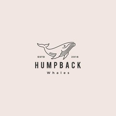 humpback whale logo hipster vintage retro icon vector illustration