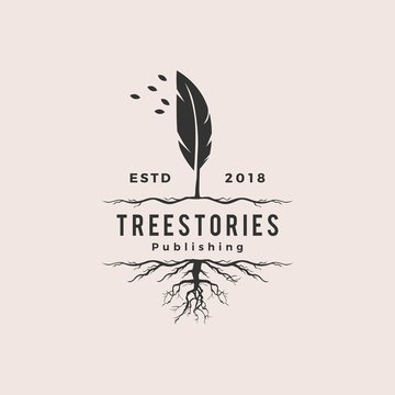 tree quill feather ink root logo vintage retro hipster vector icon illustration
