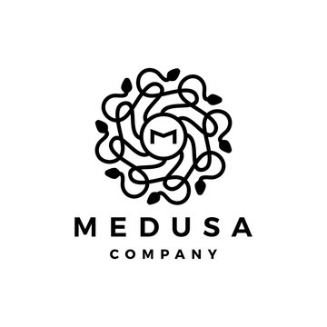 M letter medusa gorgona logo vector icon illustration