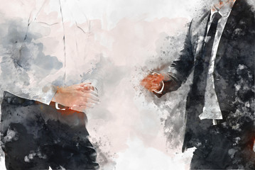 Abstract two business man talking business company on watercolor illustration painting background.