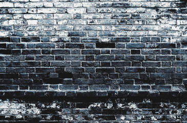 Dark black blue distressed dirty old brick wall texture background
