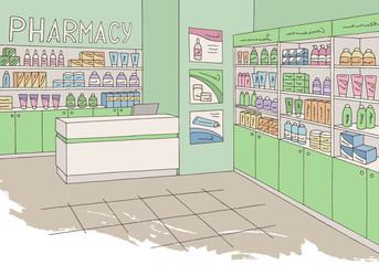 Pharmacy interior graphic store shop color sketch illustration vector